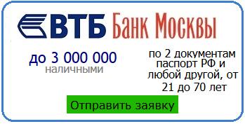 отправить заявку на кредит в банк ВТБ24